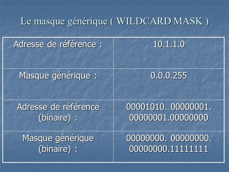 Masque générique Version binaire Description 0.0.0.0 00000000.0000 0000.00000000.00000000 Tous les bits seront examinés 0.0.0.255 00000000.0000 0000.11111111.11111111 Les 16 premiers bits seront examinés 0.255.255.255 00000000.1111 1111.11111111.11111111 Les 8 premiers bits seront examinés
