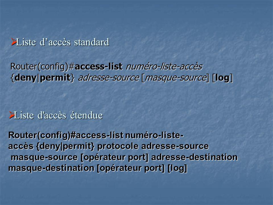  Liste d'accès standard Router(config)#access-list numéro-liste-accès {deny|permit} adresse-source [masque-source] [log]  Liste d'accès étendue Rout