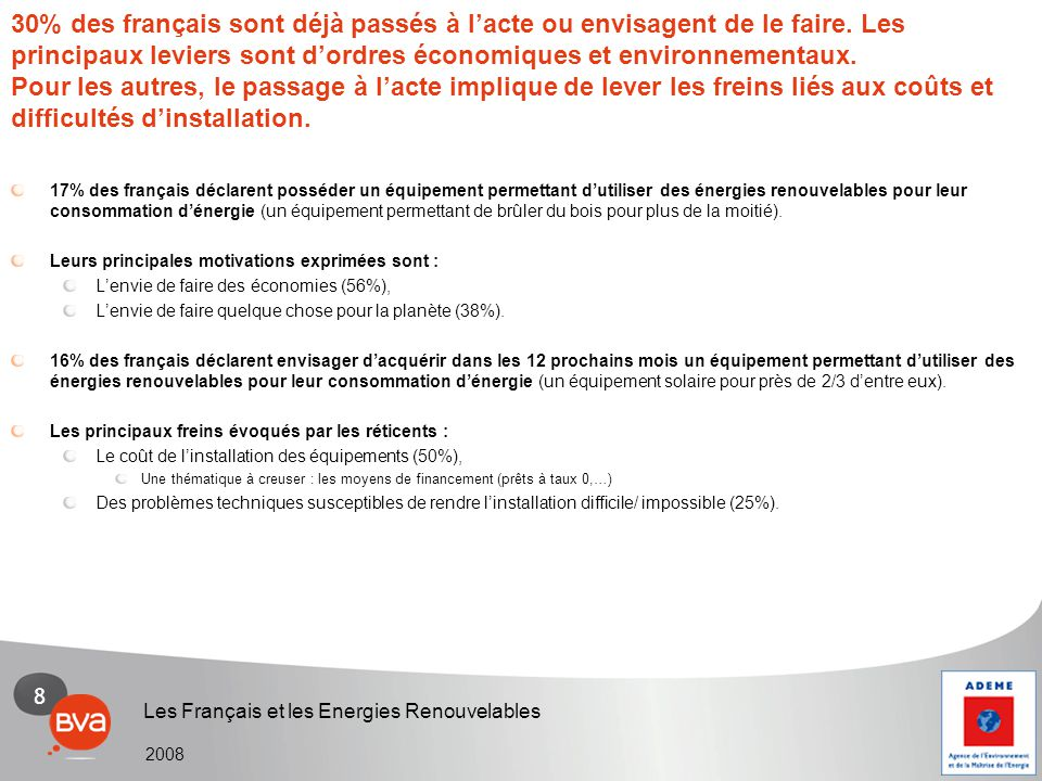 9 Les Français et les Energies Renouvelables 2008 Les principaux évènements susceptibles de favoriser le développement des ENR sont d'après les français : L'accélération du réchauffement climatique (51%), L'augmentation de la rentabilité des ENR liée à l'augmentation du prix des autres énergies (43%) La baisse des équipements à installer pour l'utilisation des ENR (52%) L'accélération du réchauffement climatique et l'augmentation du prix des énergies : un contexte favorable au développement des ENR.