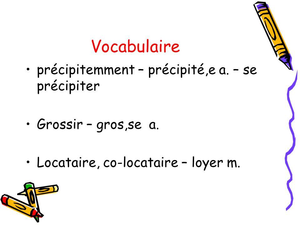 Vocabulaire précipitemment – précipité,e a.– se précipiter Grossir – gros,se a.