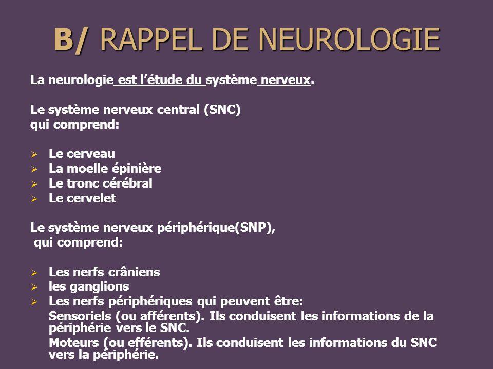 B/ RAPPEL DE NEUROLOGIE La neurologie est l'étude du système nerveux.