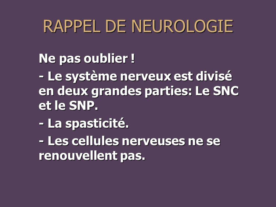 Ne pas oublier .- Le système nerveux est divisé en deux grandes parties: Le SNC et le SNP.
