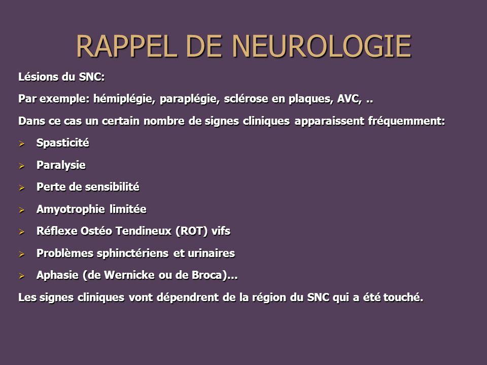 Lésions du SNC: Par exemple: hémiplégie, paraplégie, sclérose en plaques, AVC,..