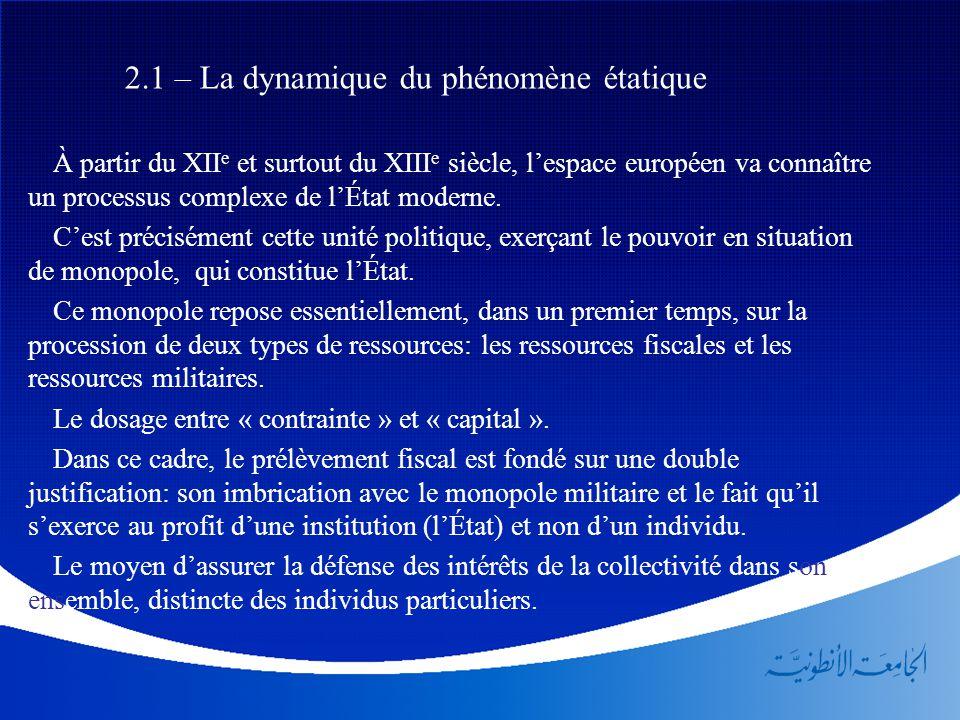 2.1 – La dynamique du phénomène étatique À partir du XII e et surtout du XIII e siècle, l'espace européen va connaître un processus complexe de l'État