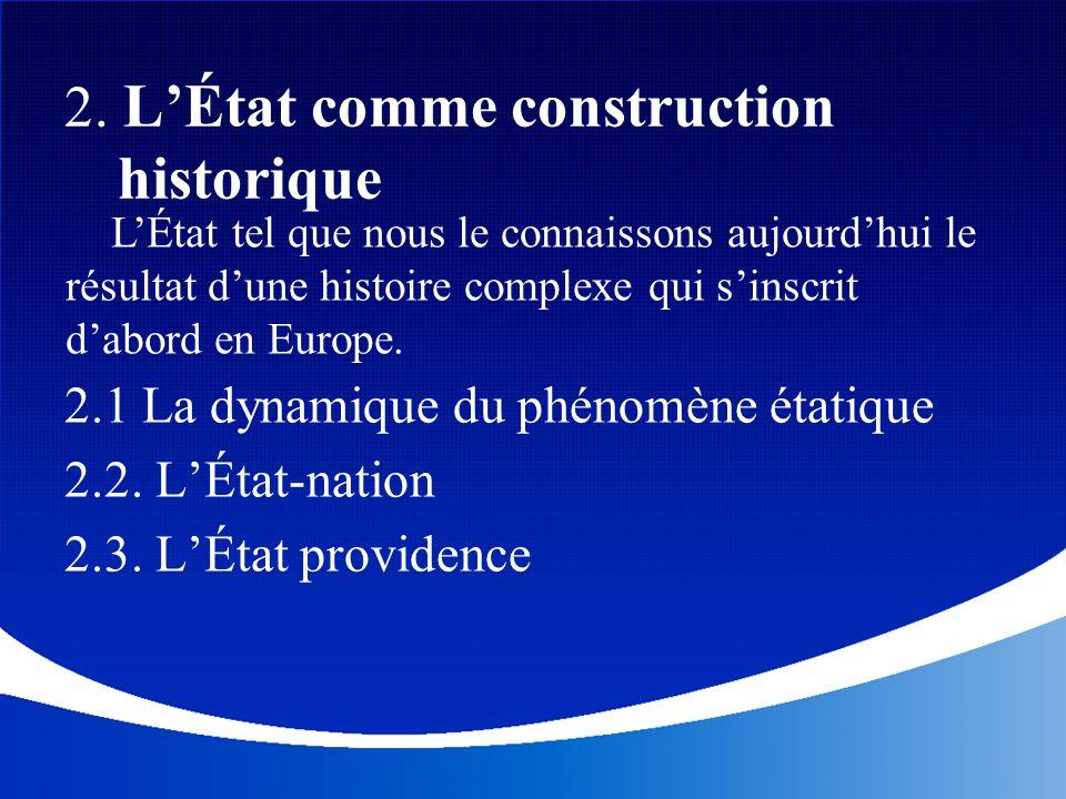 2. L'État comme construction historique 2.1 La dynamique du phénomène étatique 2.2. L'État-nation 2.3. L'État providence L'État tel que nous le connai