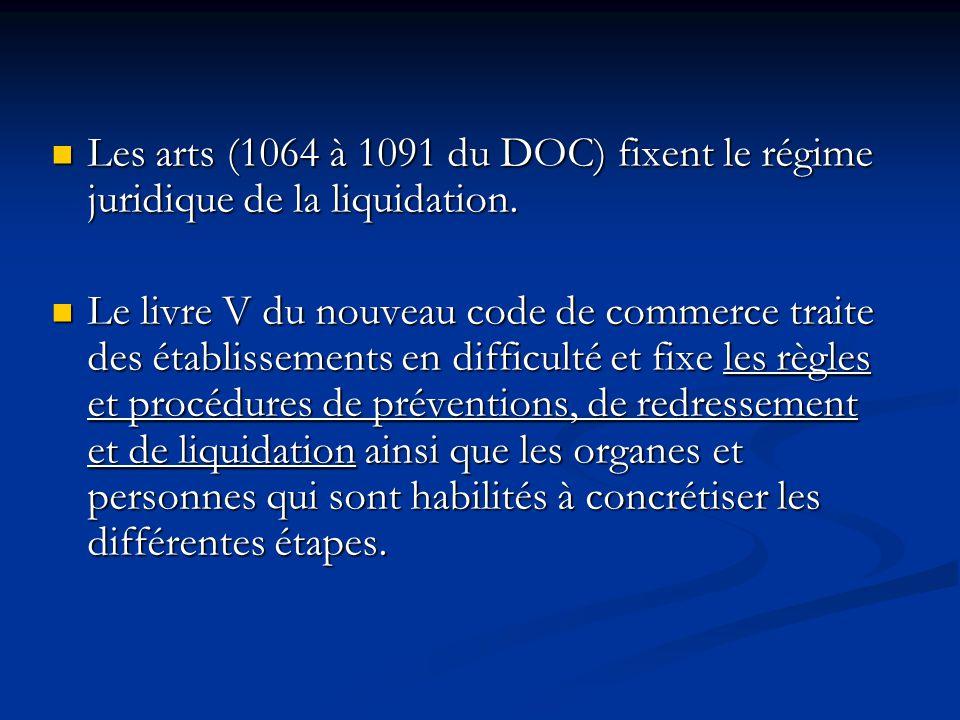 Les arts (1064 à 1091 du DOC) fixent le régime juridique de la liquidation. Les arts (1064 à 1091 du DOC) fixent le régime juridique de la liquidation