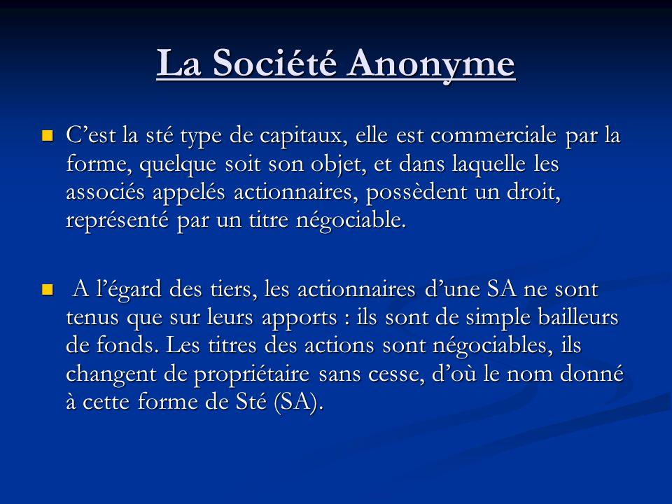 La Société Anonyme C'est la sté type de capitaux, elle est commerciale par la forme, quelque soit son objet, et dans laquelle les associés appelés act