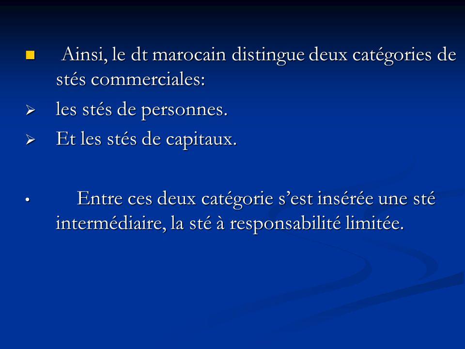 Ainsi, le dt marocain distingue deux catégories de stés commerciales: Ainsi, le dt marocain distingue deux catégories de stés commerciales:  les stés