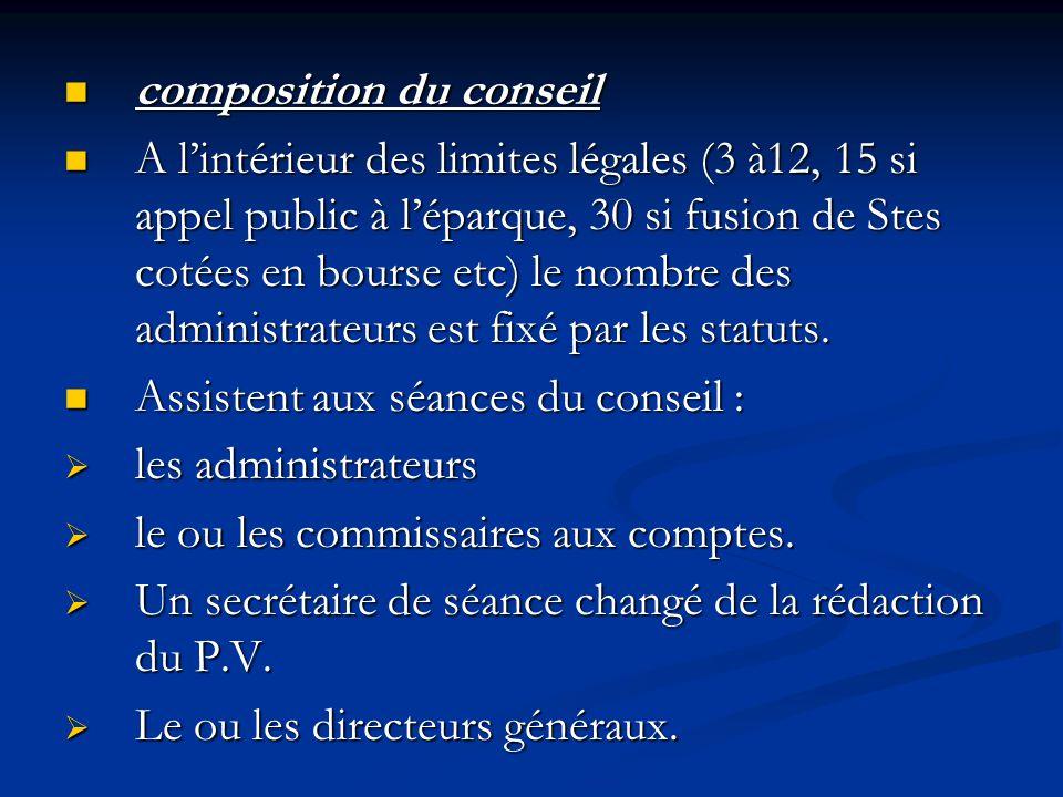 composition du conseil composition du conseil A l'intérieur des limites légales (3 à12, 15 si appel public à l'éparque, 30 si fusion de Stes cotées en