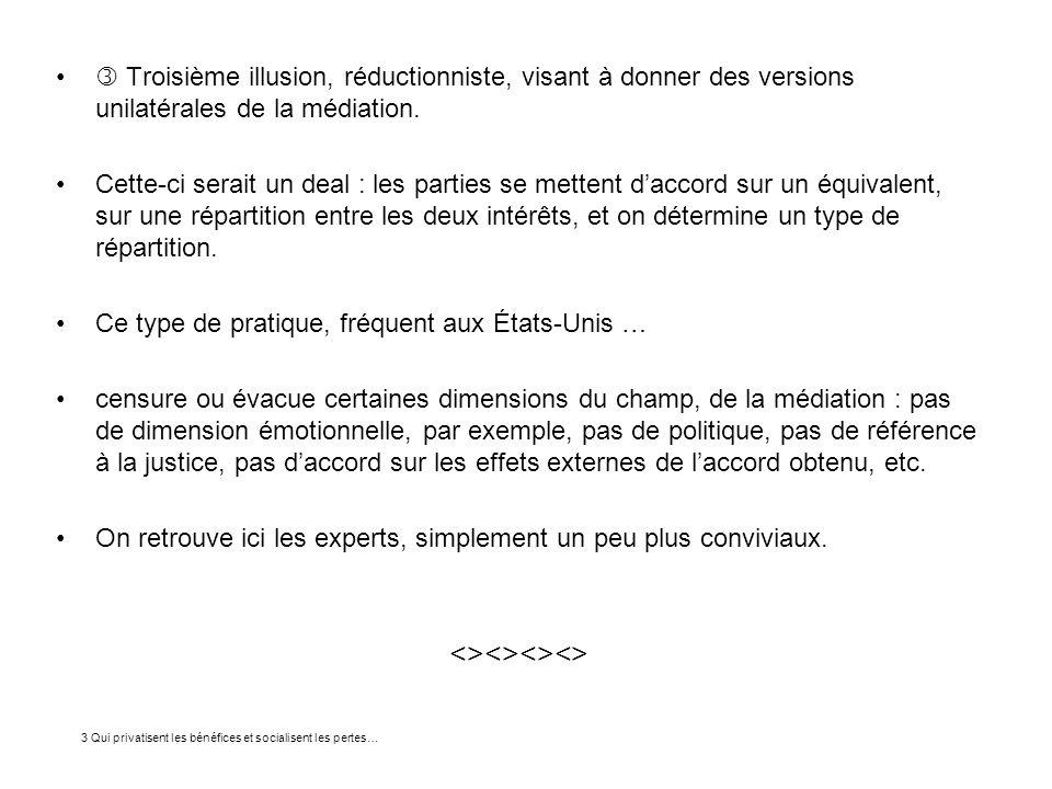  Troisième illusion, réductionniste, visant à donner des versions unilatérales de la médiation.
