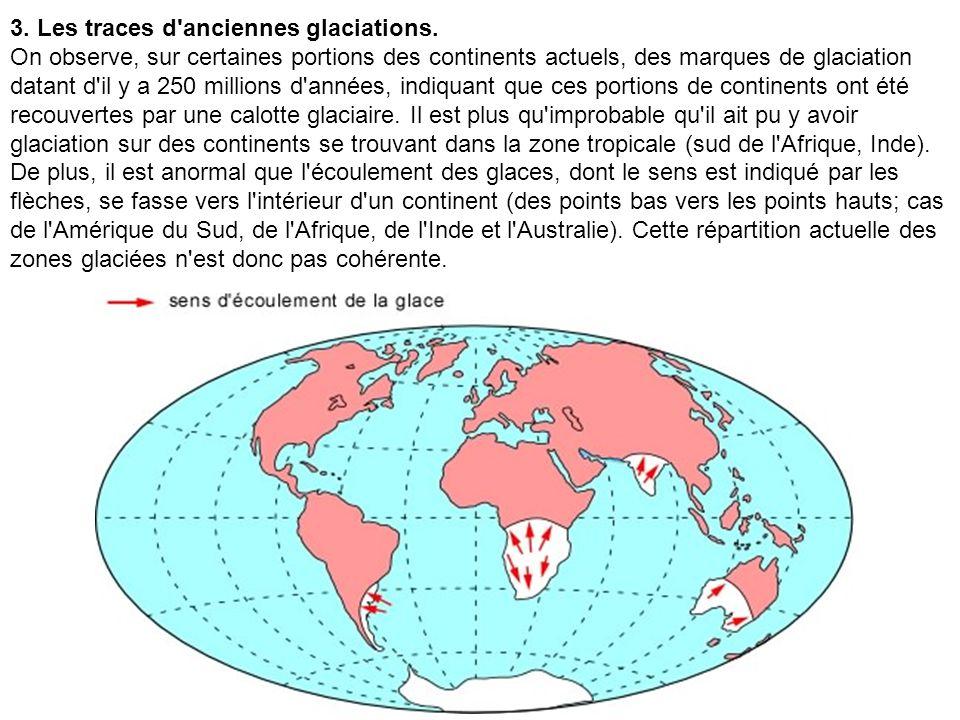 3. Les traces d'anciennes glaciations. On observe, sur certaines portions des continents actuels, des marques de glaciation datant d'il y a 250 millio