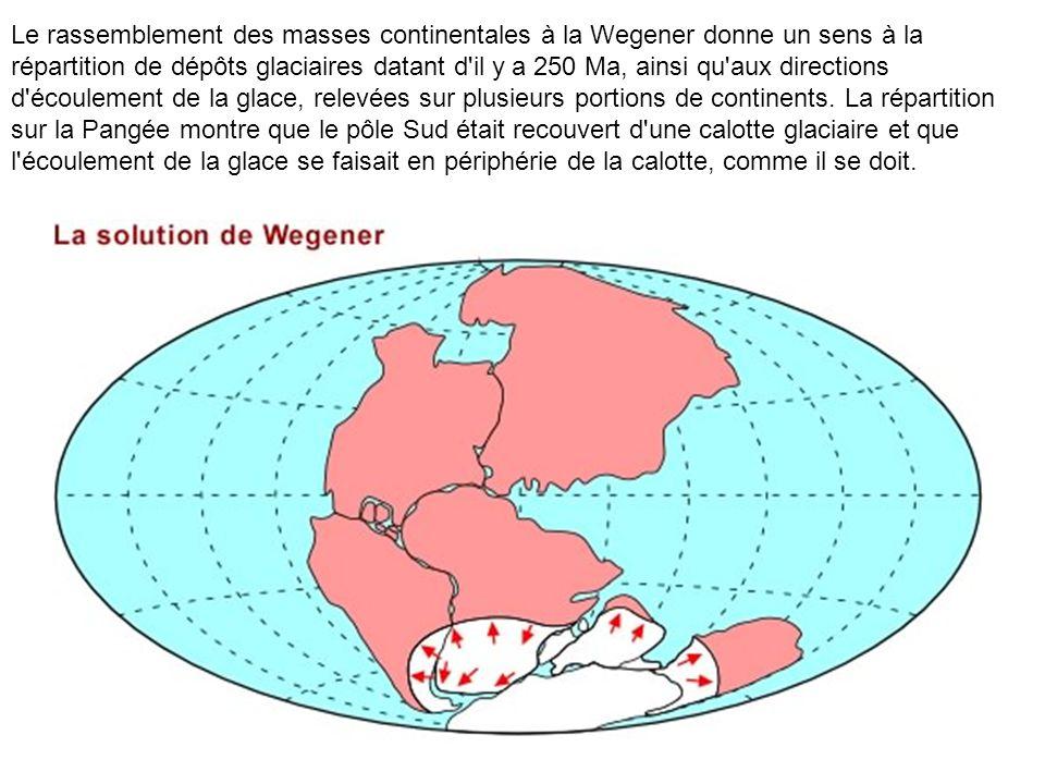 Le rassemblement des masses continentales à la Wegener donne un sens à la répartition de dépôts glaciaires datant d'il y a 250 Ma, ainsi qu'aux direct
