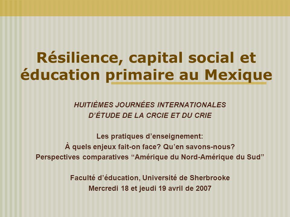Résilience, capital social et éducation primaire au Mexique HUITIÈMES JOURNÉES INTERNATIONALES D'ÉTUDE DE LA CRCIE ET DU CRIE Les pratiques d'enseigne