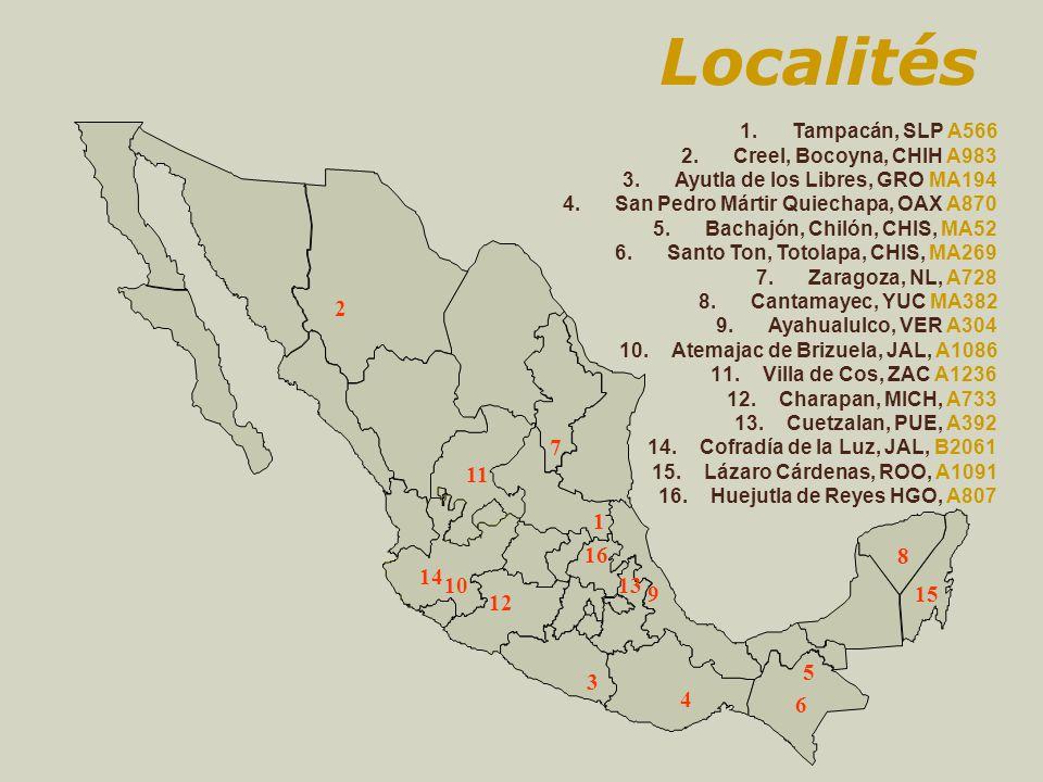 Localités 3 2 1 4 5 10 7 8 9 1.Tampacán, SLP A566 2.Creel, Bocoyna, CHIH A983 3.Ayutla de los Libres, GRO MA194 4.San Pedro Mártir Quiechapa, OAX A870