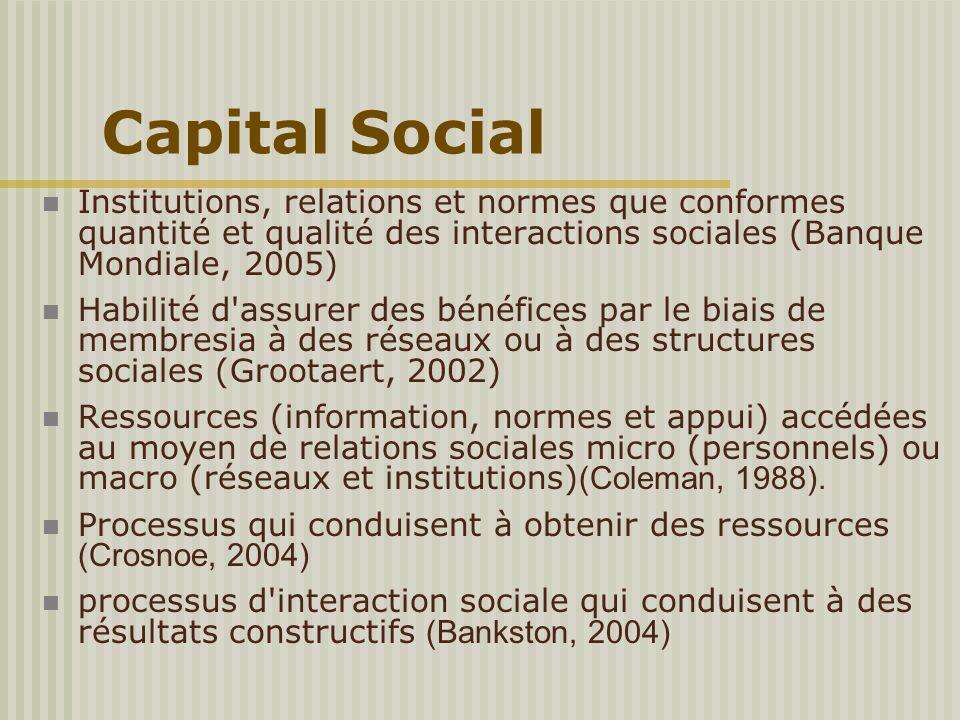Capital Social Institutions, relations et normes que conformes quantité et qualité des interactions sociales (Banque Mondiale, 2005) Habilité d'assure
