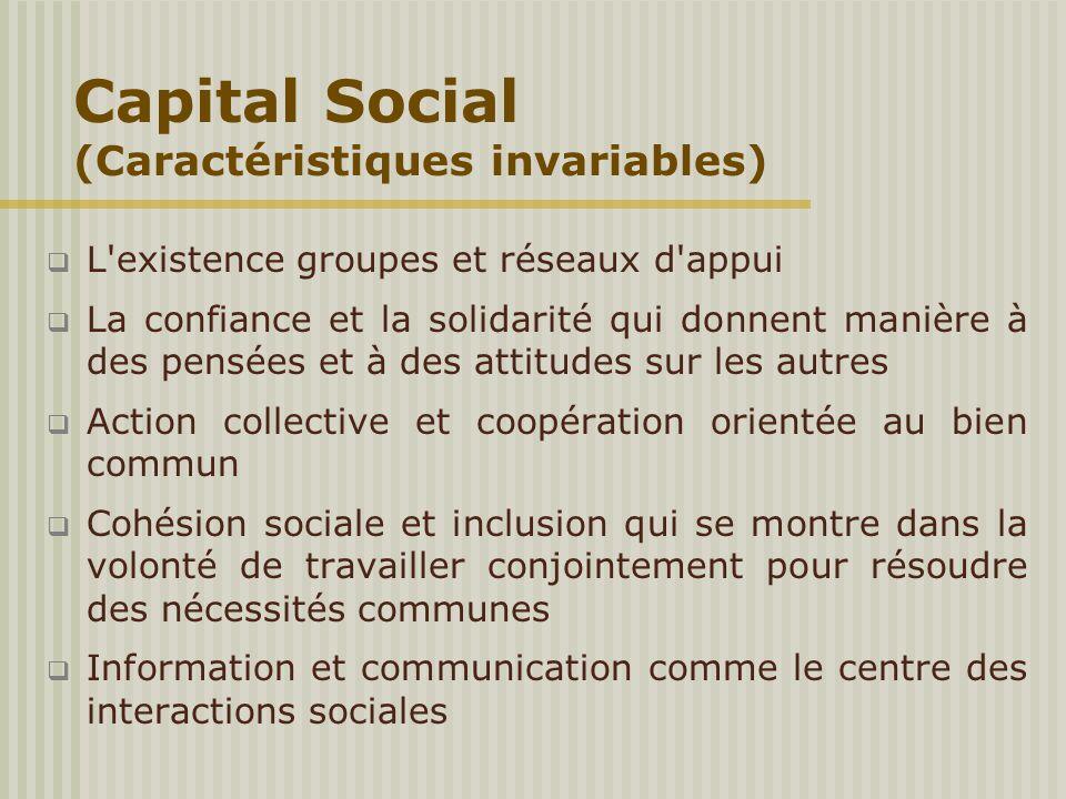 Capital Social (Caractéristiques invariables)  L'existence groupes et réseaux d'appui  La confiance et la solidarité qui donnent manière à des pensé