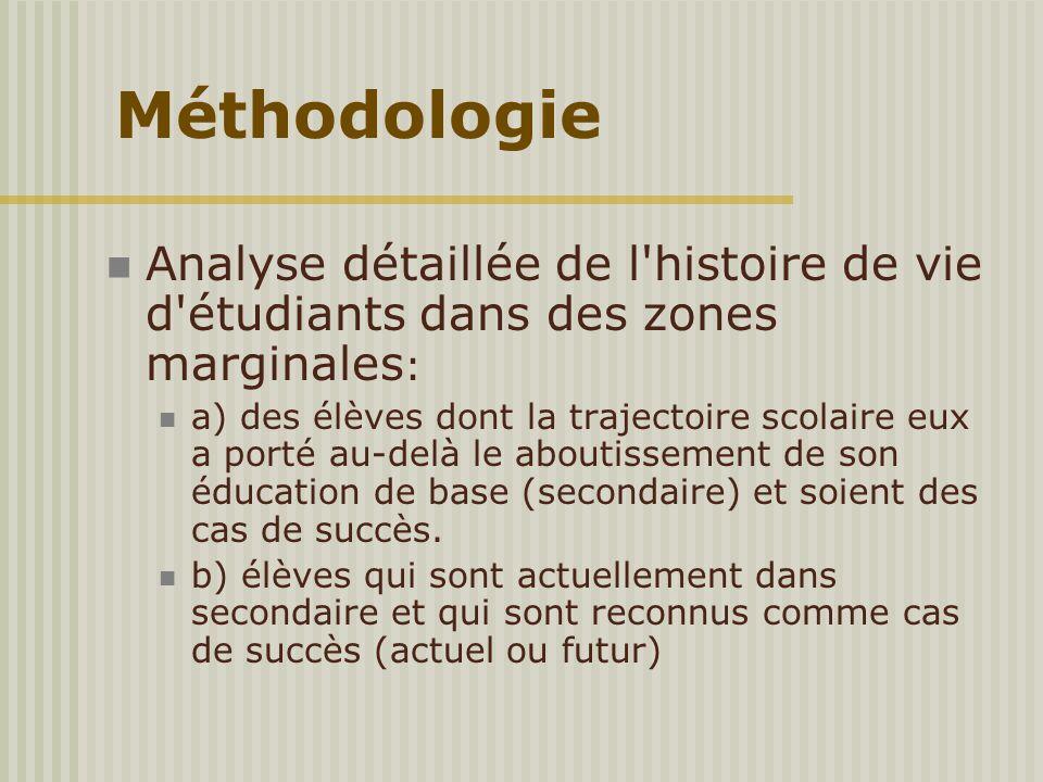 Analyse détaillée de l'histoire de vie d'étudiants dans des zones marginales : a) des élèves dont la trajectoire scolaire eux a porté au-delà le about