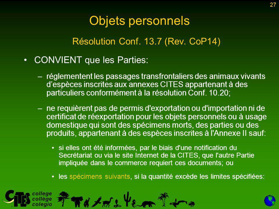 27 Résolution Conf. 13.7 (Rev.