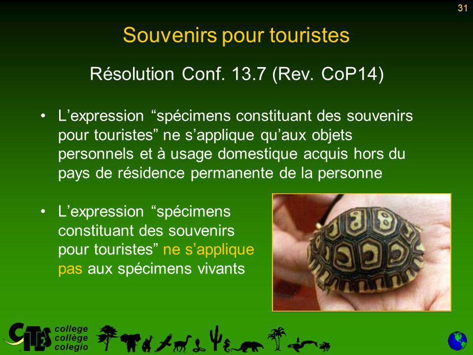 31 Souvenirs pour touristes Résolution Conf. 13.7 (Rev.