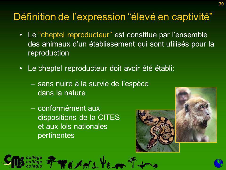 39 Le cheptel reproducteur est constitué par l'ensemble des animaux d'un établissement qui sont utilisés pour la reproduction Le cheptel reproducteur doit avoir été établi: –sans nuire à la survie de l'espèce dans la nature –conformément aux dispositions de la CITES et aux lois nationales pertinentes 39 Définition de l'expression élevé en captivité