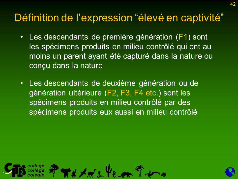 42 Les descendants de première génération (F1) sont les spécimens produits en milieu contrôlé qui ont au moins un parent ayant été capturé dans la nature ou conçu dans la nature Les descendants de deuxième génération ou de génération ultérieure (F2, F3, F4 etc.) sont les spécimens produits en milieu contrôlé par des spécimens produits eux aussi en milieu contrôlé 42 Définition de l'expression élevé en captivité