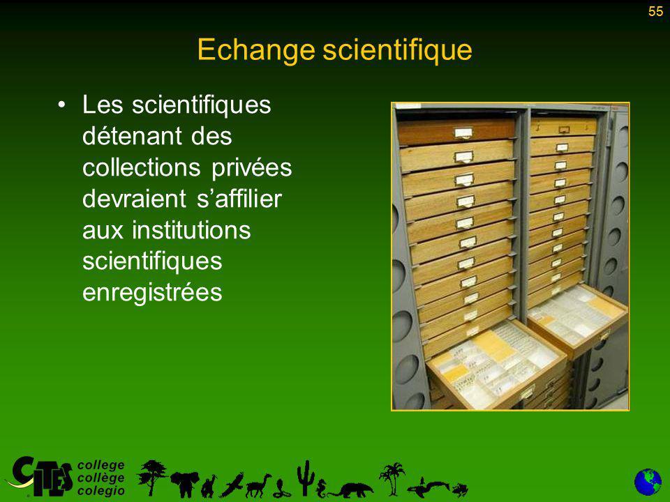 55 Echange scientifique Les scientifiques détenant des collections privées devraient s'affilier aux institutions scientifiques enregistrées 55