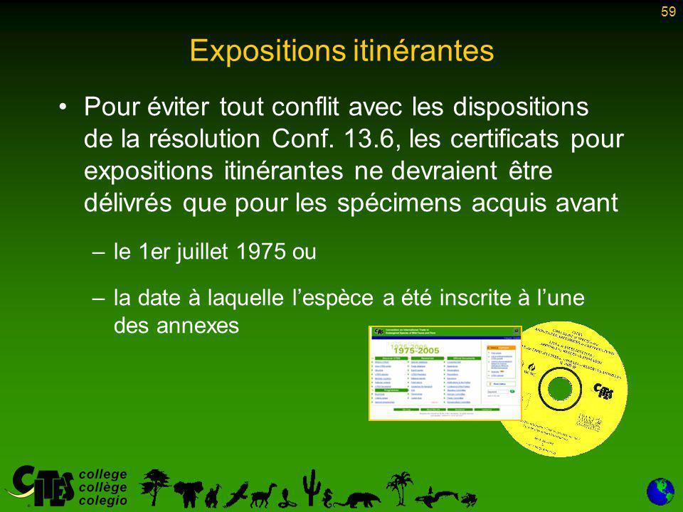 59 Expositions itinérantes Pour éviter tout conflit avec les dispositions de la résolution Conf.