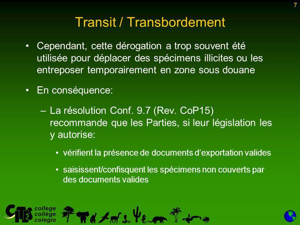 8 Transit / Transbordement La résolution Conf.9.7 (Rev.