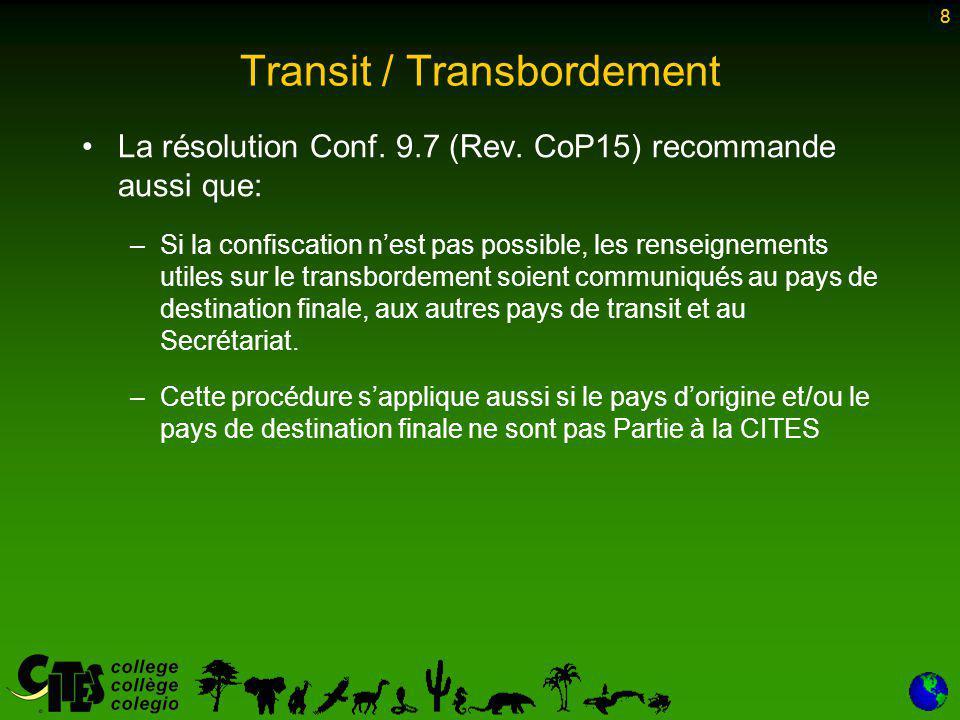 8 Transit / Transbordement La résolution Conf. 9.7 (Rev.