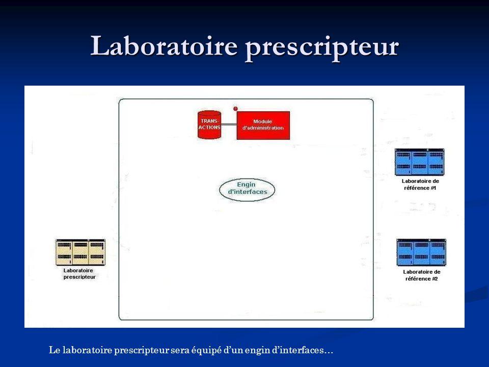 Le laboratoire prescripteur sera équipé d'un engin d'interfaces…