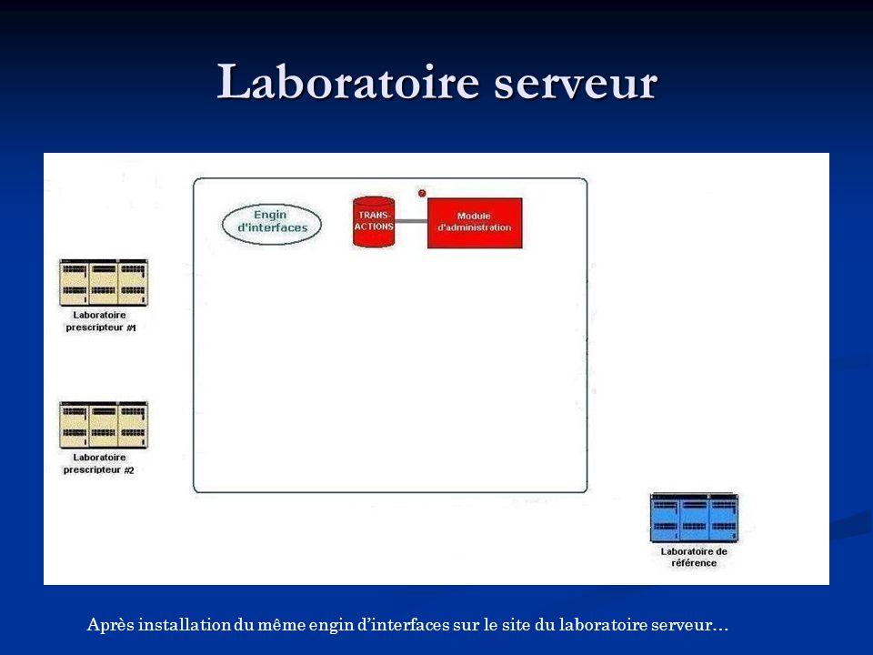 Après installation du même engin d'interfaces sur le site du laboratoire serveur…