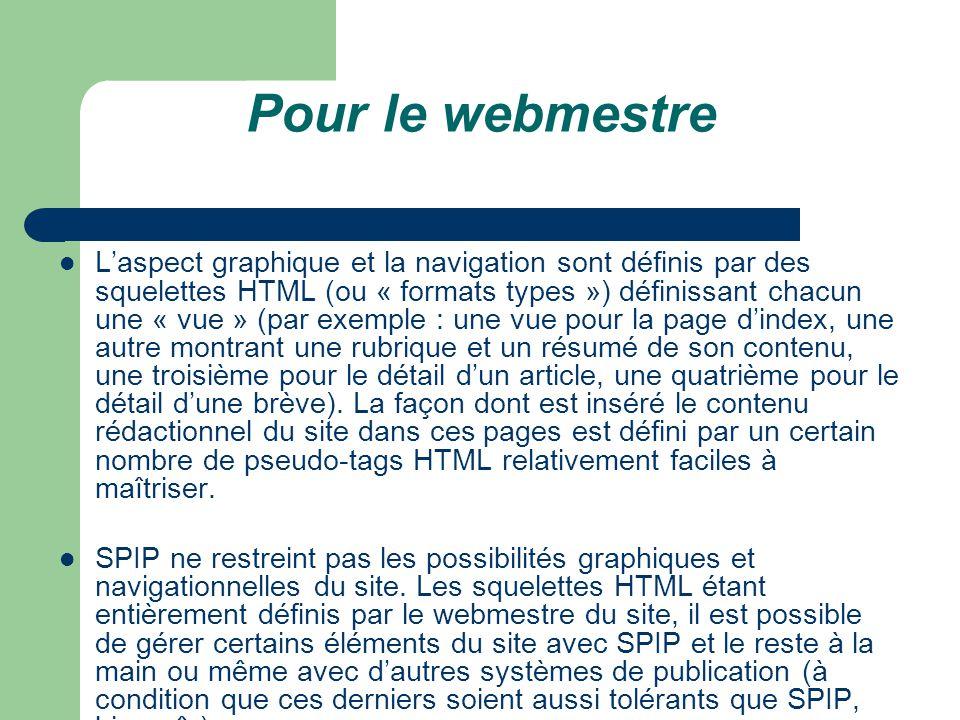 Pour le webmestre L'aspect graphique et la navigation sont définis par des squelettes HTML (ou « formats types ») définissant chacun une « vue » (par exemple : une vue pour la page d'index, une autre montrant une rubrique et un résumé de son contenu, une troisième pour le détail d'un article, une quatrième pour le détail d'une brève).