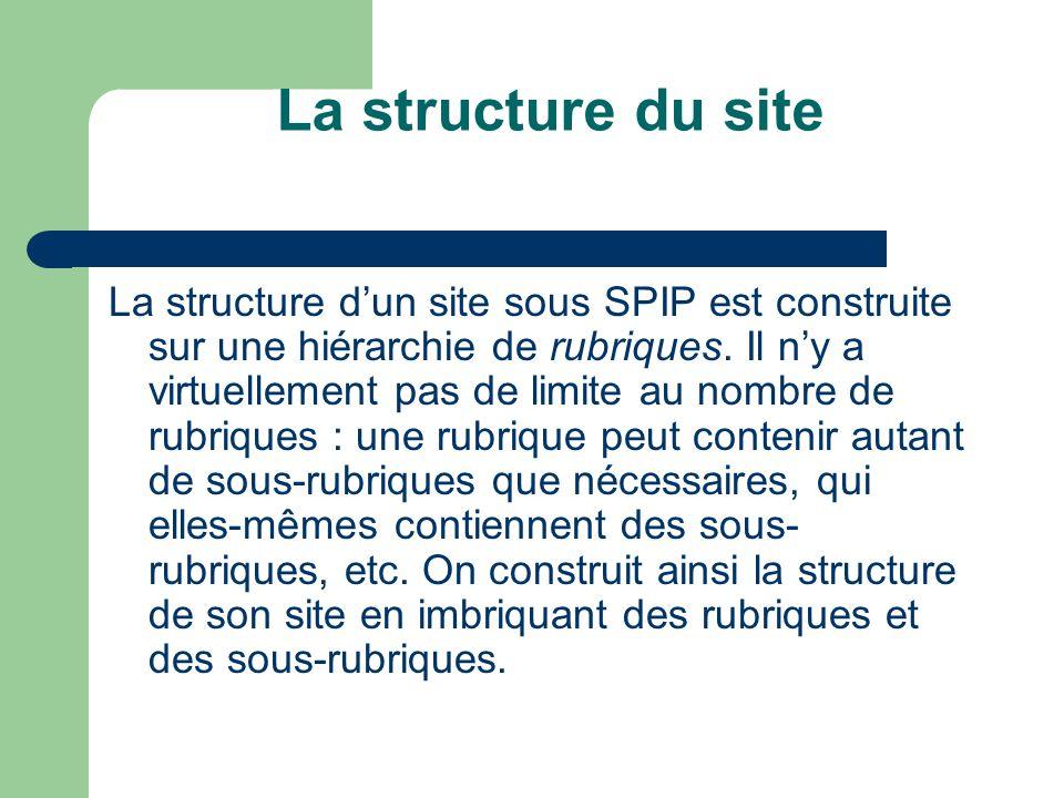 La structure du site La structure d'un site sous SPIP est construite sur une hiérarchie de rubriques.