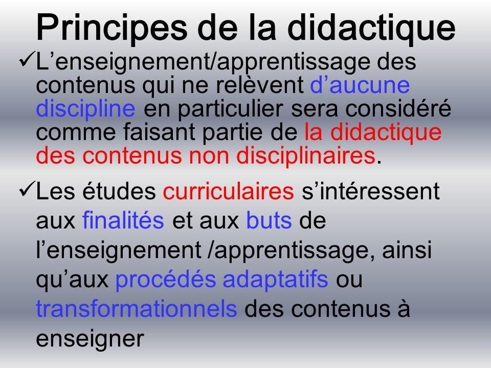 Principes de la didactique L'enseignement/apprentissage des contenus qui ne relèvent d'aucune discipline en particulier sera considéré comme faisant p
