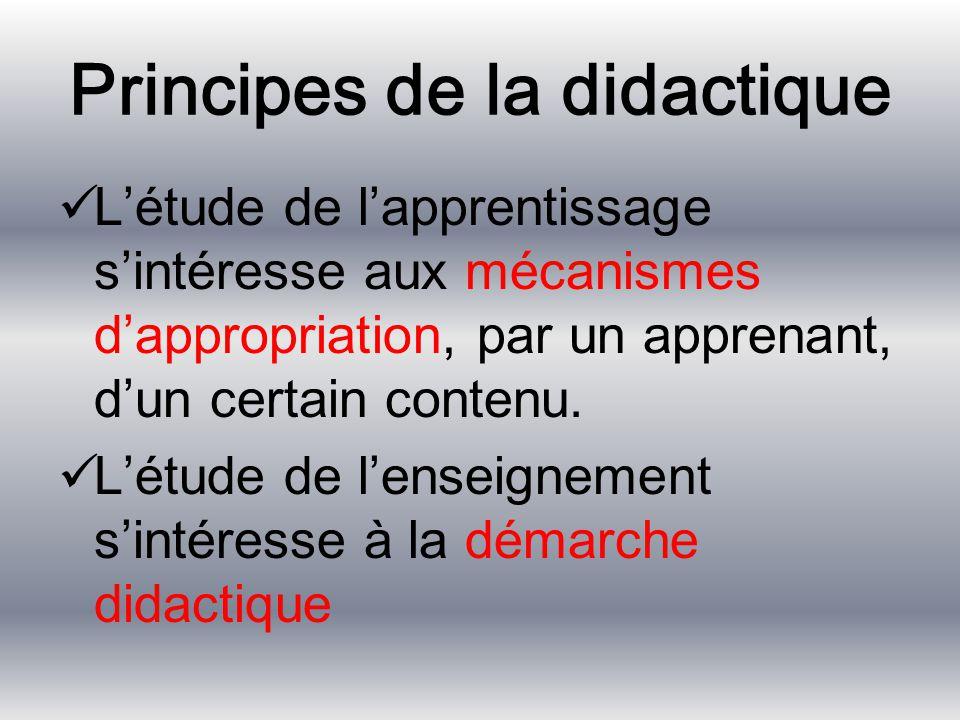 Principes de la didactique L'étude de l'apprentissage s'intéresse aux mécanismes d'appropriation, par un apprenant, d'un certain contenu. L'étude de l