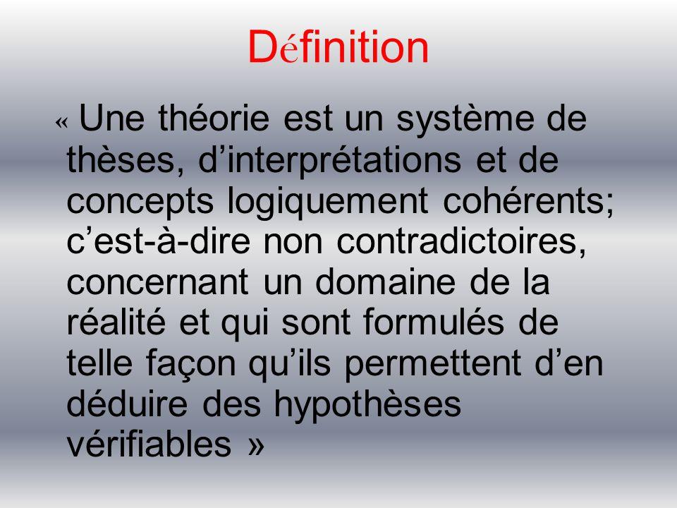 D é finition « Une théorie est un système de thèses, d'interprétations et de concepts logiquement cohérents; c'est-à-dire non contradictoires, concern