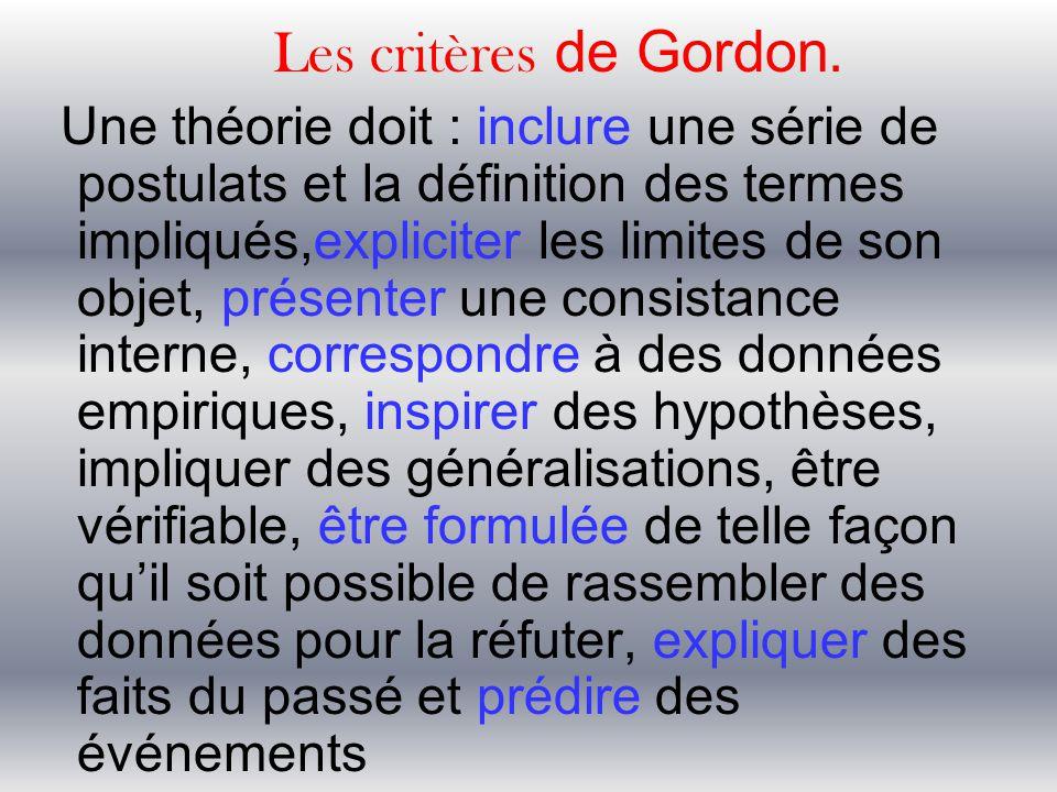 Les critères de Gordon. Une théorie doit : inclure une série de postulats et la définition des termes impliqués,expliciter les limites de son objet, p