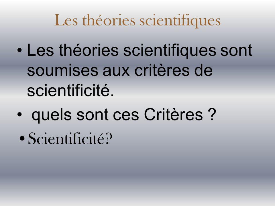 Les théories scientifiques sont soumises aux critères de scientificité. quels sont ces Critères ? Scientificité? Les théories scientifiques