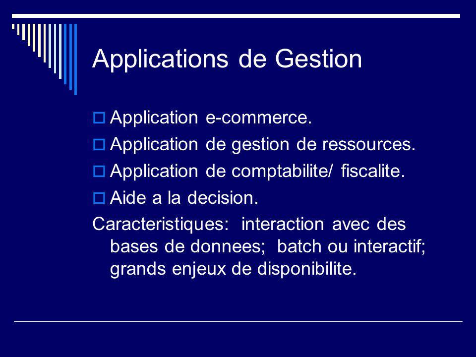Applications de Gestion  Application e-commerce.  Application de gestion de ressources.