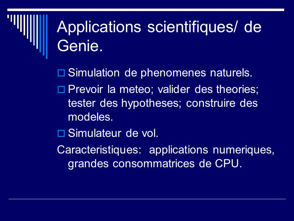 Applications scientifiques/ de Genie.  Simulation de phenomenes naturels.