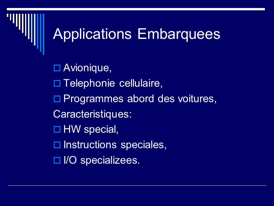 Applications Embarquees  Avionique,  Telephonie cellulaire,  Programmes abord des voitures, Caracteristiques:  HW special,  Instructions speciale