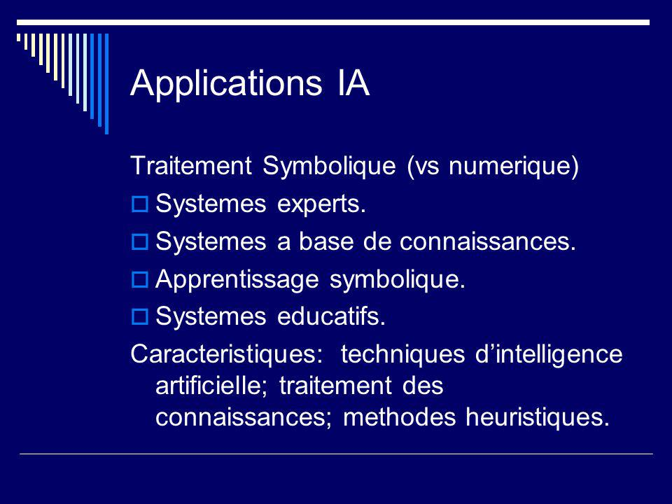 Applications IA Traitement Symbolique (vs numerique)  Systemes experts.