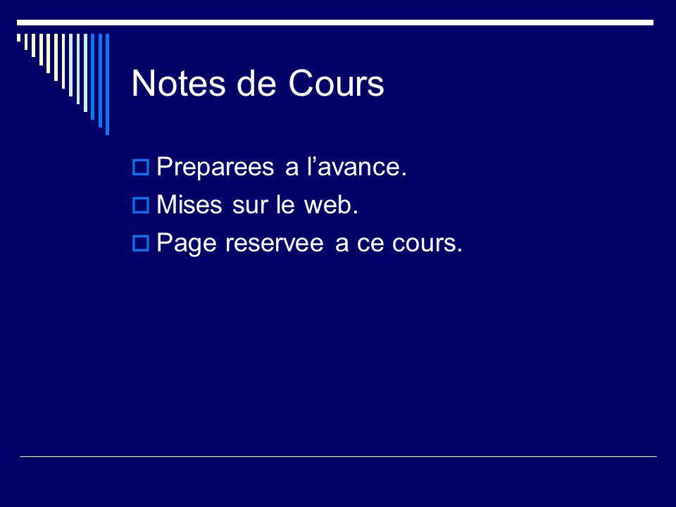 Notes de Cours  Preparees a l'avance.  Mises sur le web.  Page reservee a ce cours.