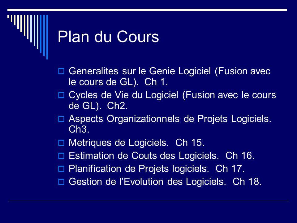 Plan du Cours  Generalites sur le Genie Logiciel (Fusion avec le cours de GL).