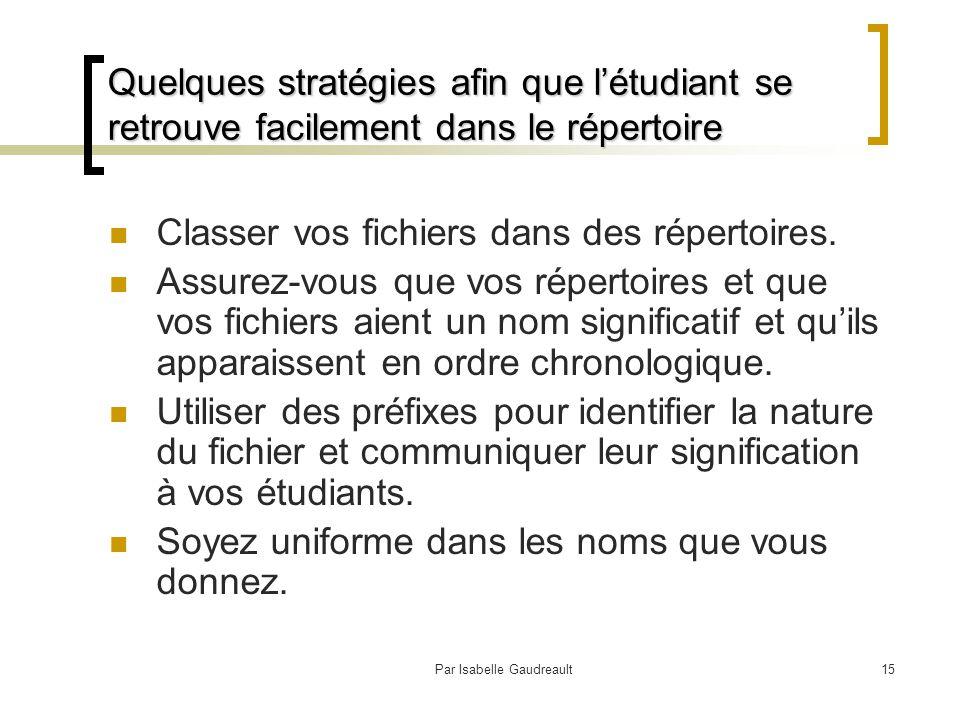 Par Isabelle Gaudreault15 Quelques stratégies afin que l'étudiant se retrouve facilement dans le répertoire Classer vos fichiers dans des répertoires.