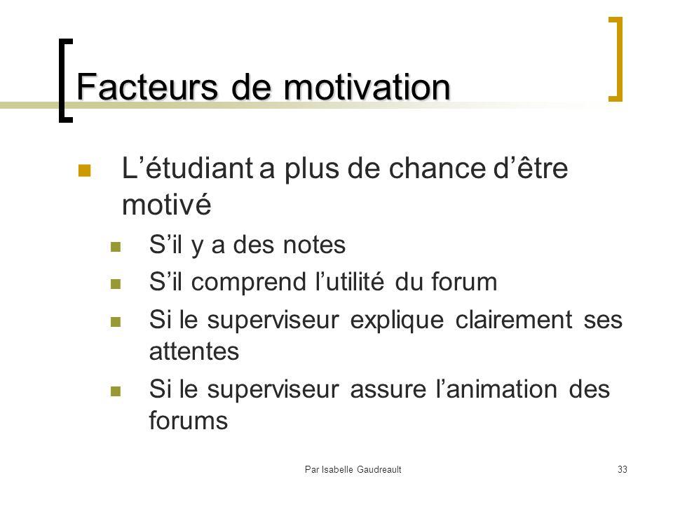 Par Isabelle Gaudreault33 Facteurs de motivation L'étudiant a plus de chance d'être motivé S'il y a des notes S'il comprend l'utilité du forum Si le superviseur explique clairement ses attentes Si le superviseur assure l'animation des forums