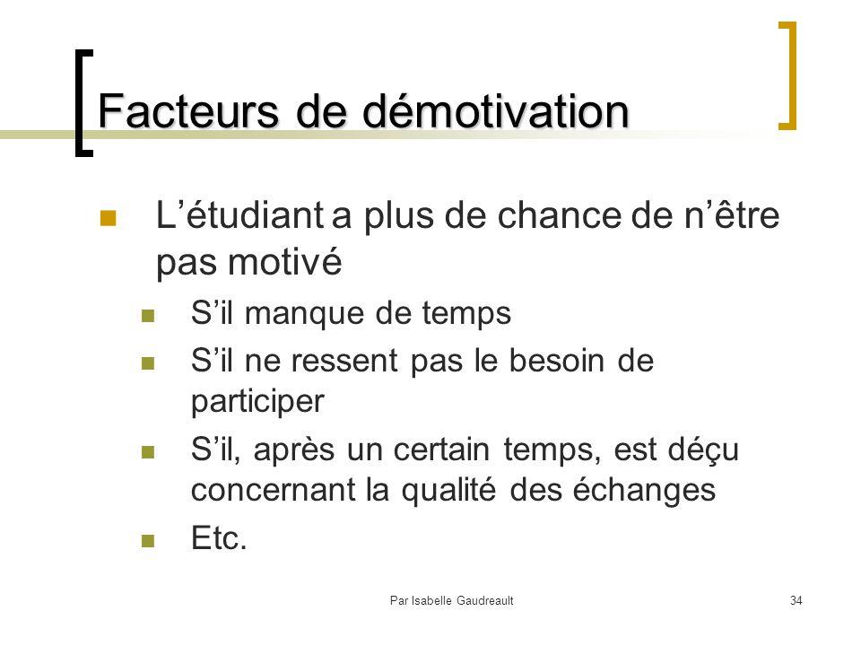 Par Isabelle Gaudreault34 Facteurs de démotivation L'étudiant a plus de chance de n'être pas motivé S'il manque de temps S'il ne ressent pas le besoin de participer S'il, après un certain temps, est déçu concernant la qualité des échanges Etc.