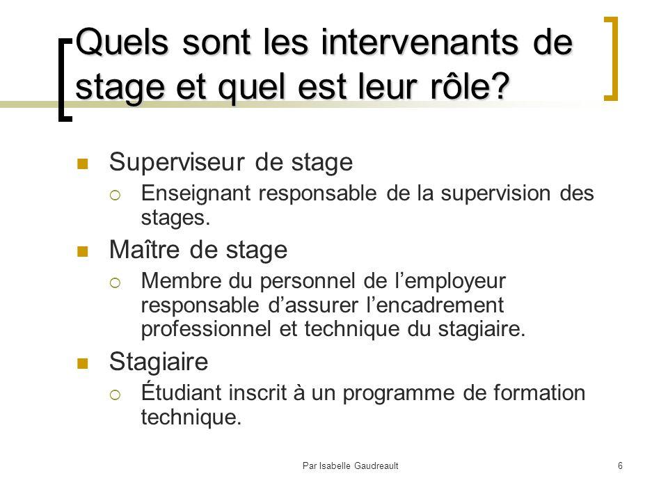 Par Isabelle Gaudreault6 Quels sont les intervenants de stage et quel est leur rôle.