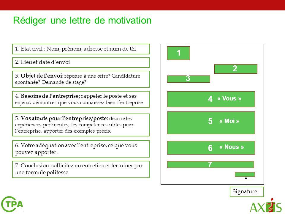 Rédiger une lettre de motivation 5. Vos atouts pour l'entreprise/poste : décrire les expériences pertinentes, les compétences utiles pour l'entreprise