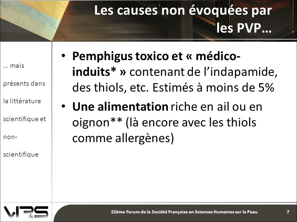 Pemphigus toxico et « médico- induits* » contenant de l'indapamide, des thiols, etc.